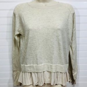 TOPSHOP Oatmeal Ruffle Bottom Sweater EUC